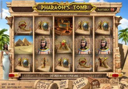 Play slots at Solara: Solara featuring the Video Slots Pharaoh's Tomb with a maximum payout of $4,000