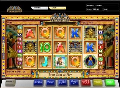 Casino Club featuring the Video Slots Pharaoh's Treasure with a maximum payout of $5,000