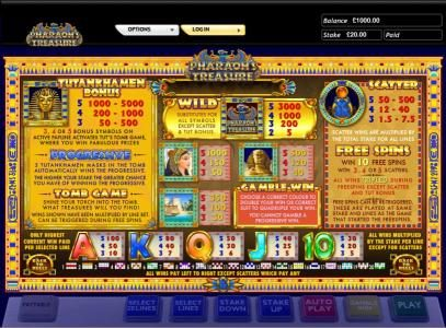Winstar featuring the Video Slots Pharaoh's Treasure with a maximum payout of $5,000