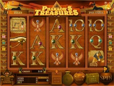 Boaboa featuring the Video Slots Pharaoh's Treasures with a maximum payout of $40,000