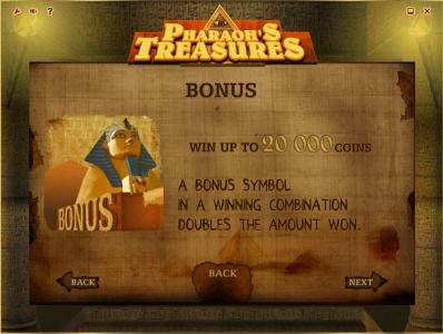 Tangiers featuring the Video Slots Pharaoh's Treasures with a maximum payout of $40,000