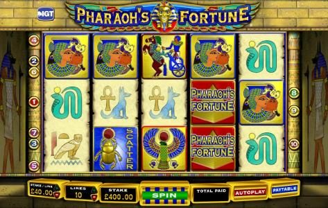 Moon Games featuring the Video Slots Pharaoh's Fortune with a maximum payout of $250,000