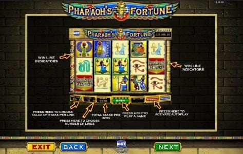 Pharaoh's Fortune :: game controls
