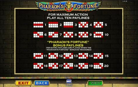 Pharaoh's Fortune :: payline diagrams