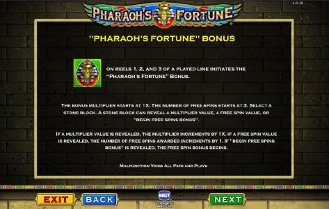 Pharaoh's Fortune :: Bonus game rules