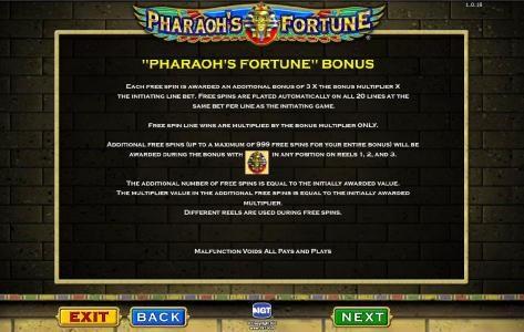 Pharaoh's Fortune :: bonus game rules continued