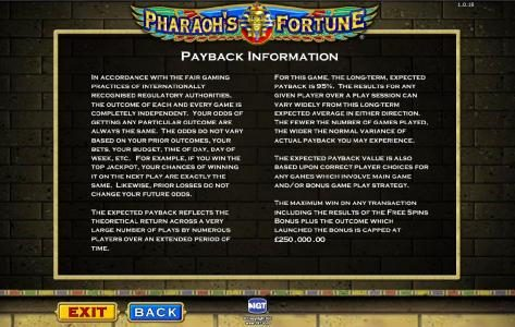 Pharaoh's Fortune :: payback information