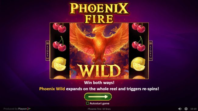 Play slots at Lev Casino: Club Vulkan featuring the Video Slots Phoenix Fire with a maximum payout of $50,000
