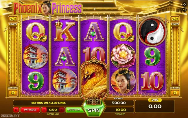 Betchan featuring the Video Slots Phoenix Princess with a maximum payout of $1,500