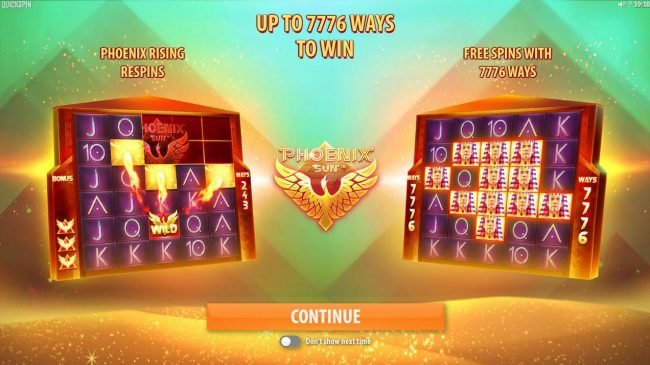 Game feature up to 7776 ways to win, Phoenix Rising respins and Free spins with 7776 ways.