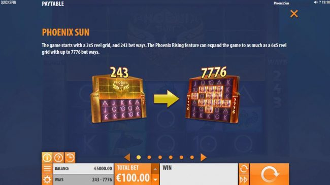 The game starts with a 3x5 reel grid and 243 bet ways. The Phoenix Rising feature can expand the game to as much as a 6x5 reel grid with up to 7776 bet ways.