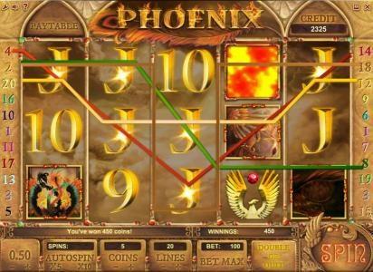Phoenix :: multiple winning paylines triggers a 450 coin jackpot