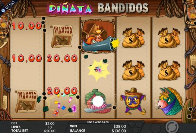 Pinata Bandidos :: Landing a Sheriff wild symbol on reel 3, triggers the Symbol Bomb feature. All pinata symbols on the reels will explode awardeding the player with a cash prize.