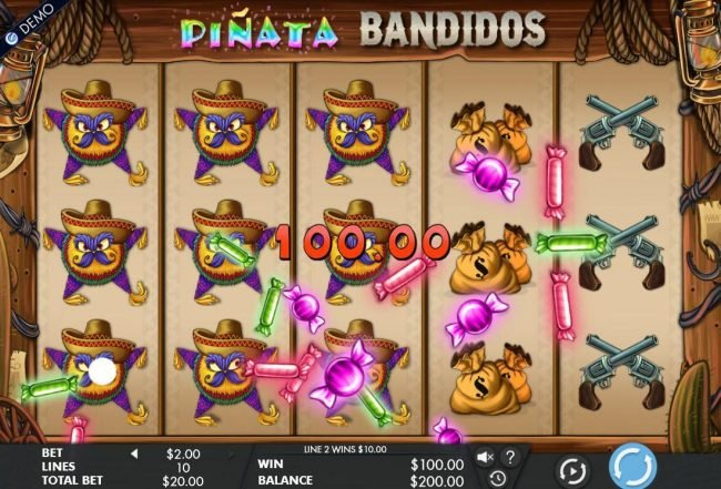 Pinata Bandidos :: A 100.00 payout triggered by multiple winning paylines.