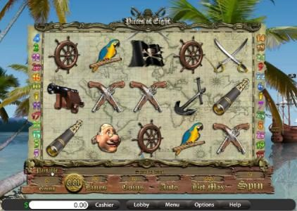 Villa Fortuna featuring the Video Slots Pieces of Eight with a maximum payout of $10,000