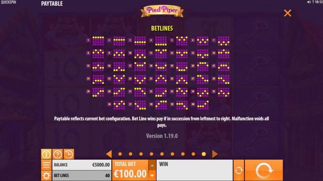 Boaboa featuring the Video Slots Pied Piper with a maximum payout of $150,000