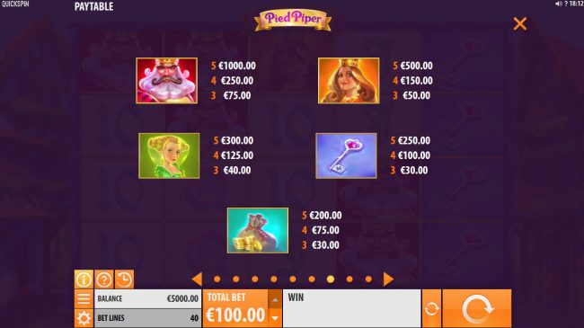 Energy featuring the Video Slots Pied Piper with a maximum payout of $150,000