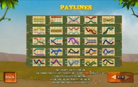 Piggies and the Wolf :: Payline Diagrams 1-50. Only highest win pays per line. Win combinations pay left to right only except the game logo scatter symbols which pays any. Game played with 50 lines only. Payline wins are multiplied by the line bet.