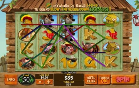 Piggies and the Wolf :: Multiple winning paylines triggers a big win!