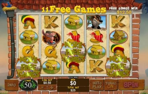 LesA Casino featuring the Video Slots Piggies and the Wolf with a maximum payout of $250,000