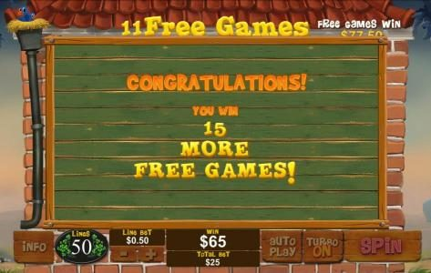 An additinal 15 free games are added to the free game feature total