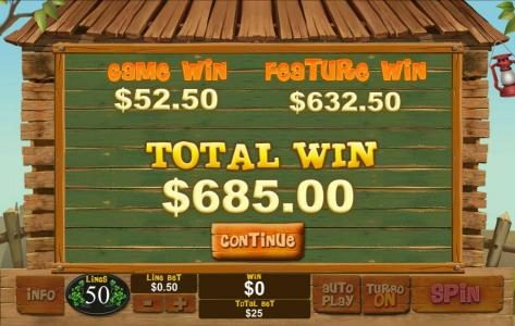 The free games feature pays out a total of $685.00 for a big win!