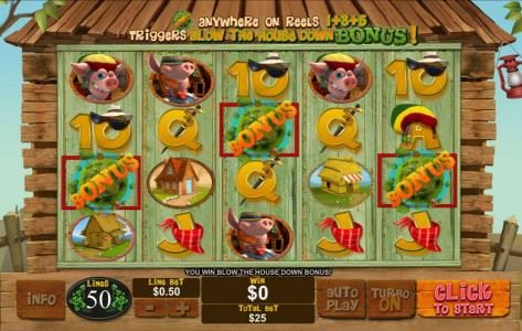 Casino Plex featuring the Video Slots Piggies and the Wolf with a maximum payout of $250,000