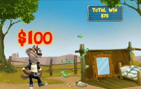 Piggies and the Wolf :: The wolf is successful at blowing the house down on the 2nd attempt and a $100 cash prize is awarded.