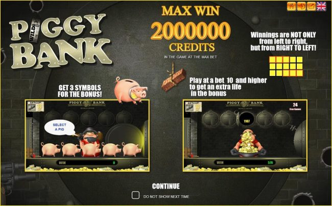 X-Bet featuring the Video Slots Piggy Bank with a maximum payout of $2,000,000