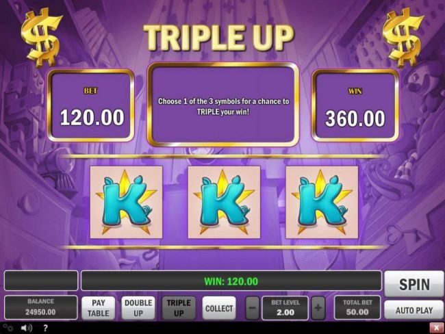 Piggy Bank :: Triple Up Gamble Feature Screen