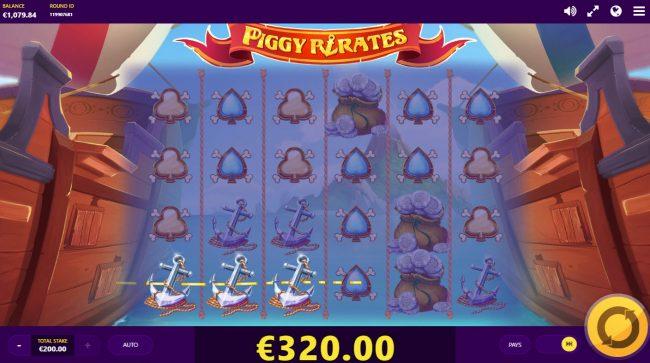 Piggy Pirates :: Multiple winning paylines triggers a big win
