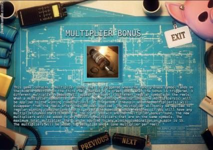 multiplier bonus. this game contains a multiplier bonus that is triggered when the hand grenade symbol lands on the middle position on the third reel.