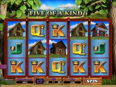 five of a kind triggers a 2250 coin jackpot