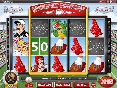 Gibson featuring the Video Slots Pigskin Payout with a maximum payout of $18,750