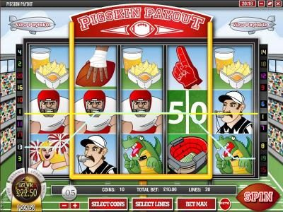 Slots Jackpot featuring the Video Slots Pigskin Payout with a maximum payout of $18,750