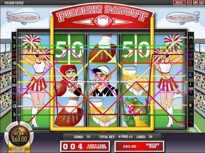 Crazy Luck featuring the Video Slots Pigskin Payout with a maximum payout of $18,750
