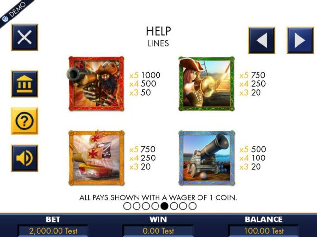 High value slot game symbols paytable featuring pirate inspired icons..