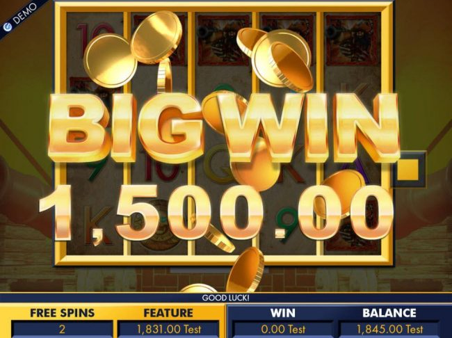 A 1,500.00 big win during the free spins feature.