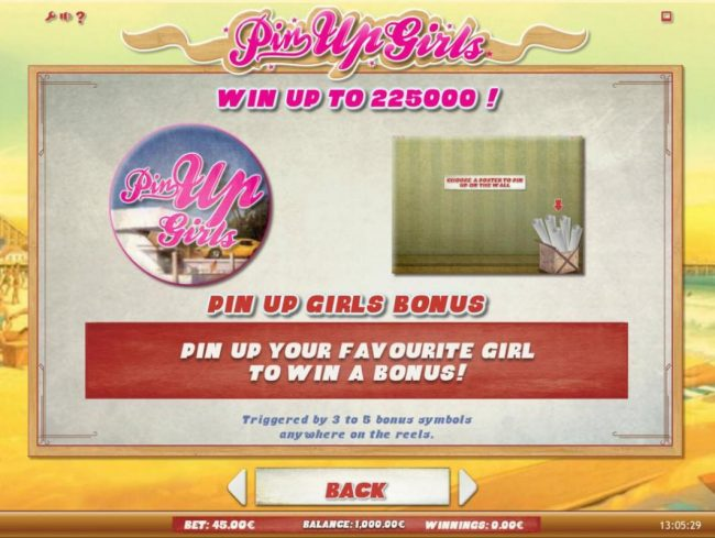 Win up to 225,000! Pin Up Girl Bonus - Pin up your favorite girl to win a bonus! Triggered by 3 to 5 bonus symbols anywhere on the reels