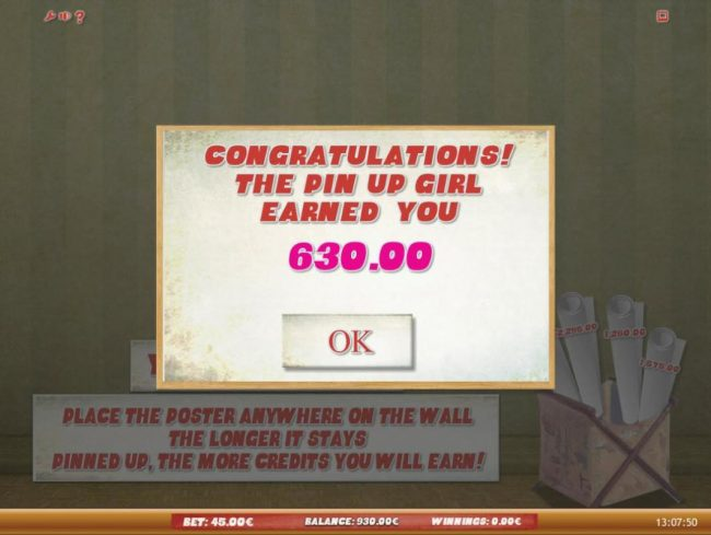 Pin Up Gril Bonus feature pays out a total of 630.00