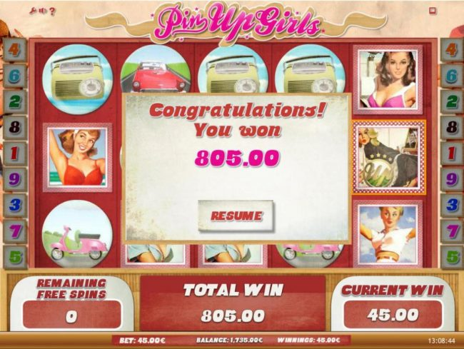 The free games feature pays out a total of 805.00 in addition to the bonus winnings.