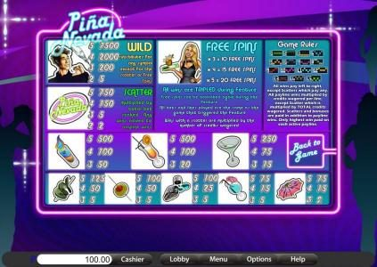 Platinum Reels featuring the Video Slots Pina Nevada with a maximum payout of $9,375