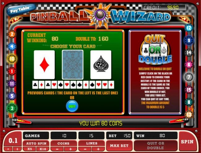 Double Up gamble feature is available after every winning spin. Select the correct color for a chance to double your winnings.