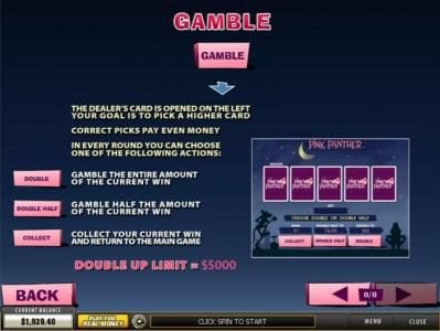 City Club Casino featuring the Video Slots Pink Panther with a maximum payout of $100,000
