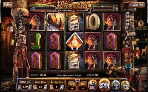 Pinocchio :: Main game board featuring five reels and 15 paylines with a 500x max payout