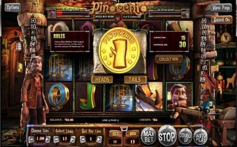 Pinocchio :: The Double Up Mini Game is available after every winning spin. Select heads or tails for a chance to double your winnings.