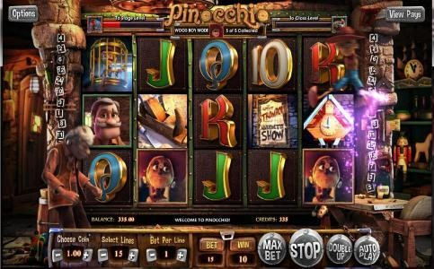 Play slots at Casino Dingo: Casino Dingo featuring the Video Slots Pinocchio with a maximum payout of  $2,500