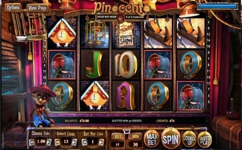 007 Slots featuring the Video Slots Pinocchio with a maximum payout of  $2,500