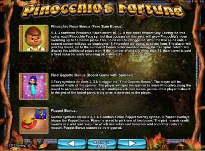 Dream Vegas featuring the Video Slots Pinocchio's Fortune with a maximum payout of $3,000
