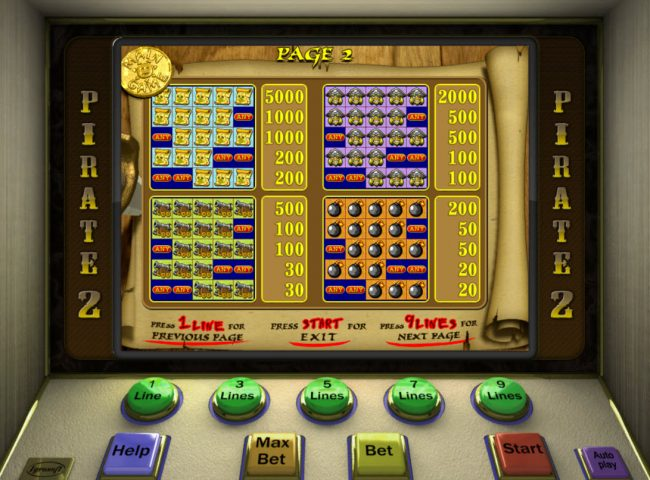 Club Vulkan featuring the Video Slots Pirate 2 with a maximum payout of $7,500